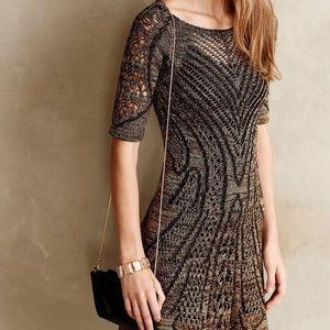 Anthro X Cecilia Prado Gold Black Knit Dress Sz XS